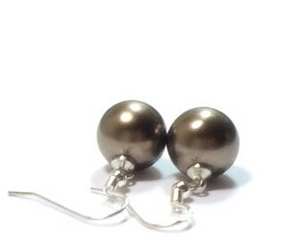 Chocolate  Pearl Earring , Sterling Silver Earrings ,  Chocolate  Shell Pearl Drop Earrings , Gift For Her , Sterling Silver Ear Wires