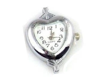Silver Heart Watch Face , Silver  Quartz  Watch Face  , Stainless Steel Back , Heart Shaped Silver Watch Face