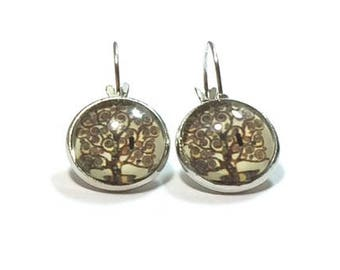 Tree Of Life Glass Dome Earrings ,  Drop Style Earrings , Lever Back Ear Wires