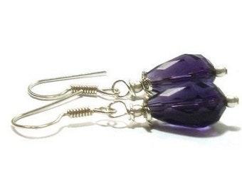 Genuine Amethyst Earrings , Sterling Silver Ear Wires  , Gift For her