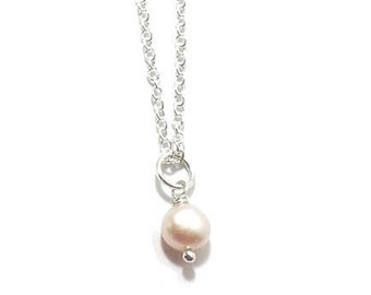 Freshwater Drop  Pearl Necklace , Sterling Silver  Chain , Ivory White Freshwater Pearl ,  Gift For Her