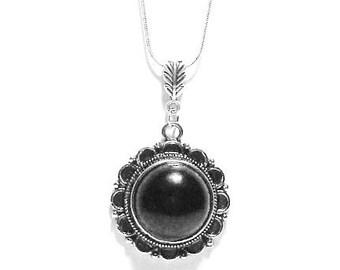 Black Onyx Pendant  ,  Antique Silver Pendant , Sterling Silver Necklace