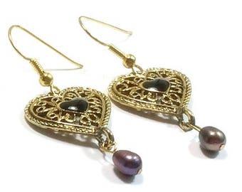 Peacock Freshwater Pearl Earrings   , Gold  Heart  Charms , Black Onyx Heart Gemstones , Romantic Earrings , Gift For Her