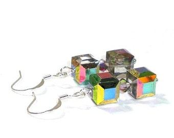 Swarovski Vitrail  Crystal Cube Earrings  ,   Sterling Silver Ear Wires
