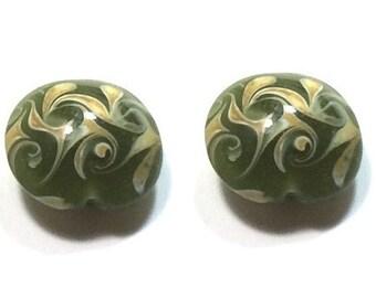 Green Lamp Work Beads , 20MM Focal Beads   , 2Pcs
