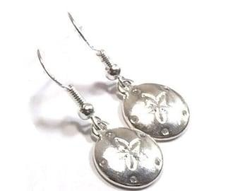 Sterling Silver Sand Dollar Earrings , Gift For Her