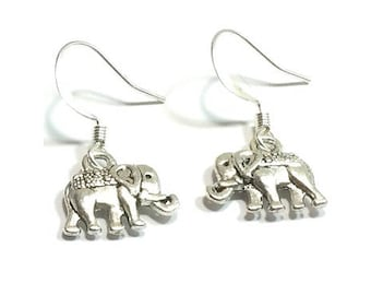 Elephant  Charm Earrings  ,  Silver Charms , Sterling Silver Ear Wires ,   Gift For Her