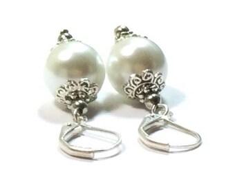 White Pearl Earrings , Sterling Silver Earrings ,  White  Shell Pearls , Gift For Her