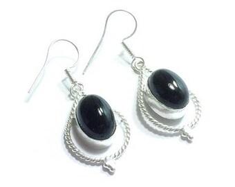 Sterling Silver Black Onyx Earrings   ,  Genuine Black Onyx , Gift For Her