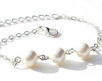 Sterling Silver Pearl Bracelet   White Swarovski Pearls    Gift For Her