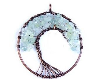 Genuine Aquamarine Tree of Life Pendant , Copper  Wire  Wrapped