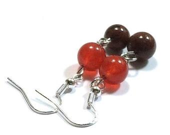 Carnelian Earrings  , Sterling Silver Earrings ,  Carnelian And Bronzite  Earrings , Gift For her