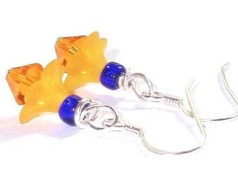 Orange And Cobalt Blue Earrings   Swarovski Fire Opal Crystals