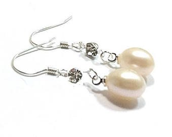 Sterling Silver Freshwater Pearl Earrings  , CZ Gemstones , 12MM Freshwater Pearls , Gift For Her
