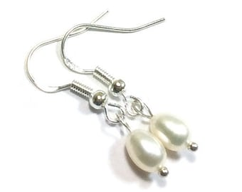 White Freshwater  Drop Pearl Earrings ,  Sterling Silver  Ear Wires , Gift For Her