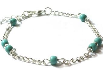 Turquoise  Beaded  Bracelet  , Sterling Silver  Chain Bracelet , Gift For Her