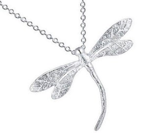 Sterling Silver Dragonfly Necklace , Dragonfly Pendant , Gift For Her
