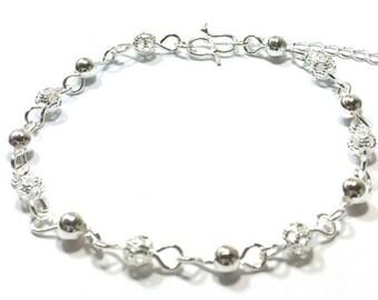 Sterling  Silver  Beaded  Bracelet  ,  Sterling  Silver  Chain  ,  Gift For Her