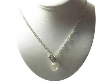 Sterling Silver Dandelion Pendant Necklace , Dandelion Wish Necklace  , Real Dandelion Seed  Terrarium Pendant , Sterling Silver Chain