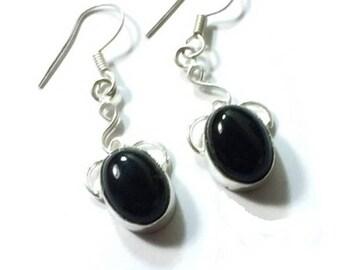 Black Onyx Earrings  Sterling Silver  ,  Genuine Black Onyx , Gift For Her