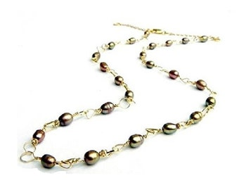 Gold Freshwater  Pearl Necklace , Gold Freshwater Pearls , Freshwater Pearl Necklace , Wire Wrapped Pearls