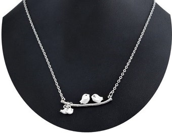 Sterling Silver  Bird on Branch Necklace , Love Birds On A Branch Pendant Necklace