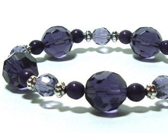 Amethyst  Crystal  Beaded Stretch Bracelet ,  Sterling  Silver Beads , Gift For her