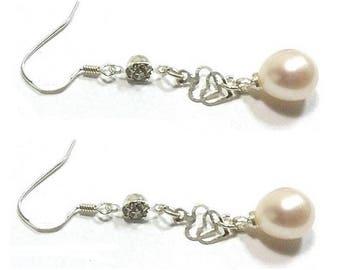 White Pearl Earrings ,  Freshwater Pearl Earrings ,  Sterling Silver Heart Charm  Earrings , CZ Gemstones , Sterling Silver Earrings