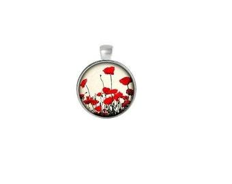 Glass dome pendant etsy red poppies floral glass dome pendant aloadofball Gallery