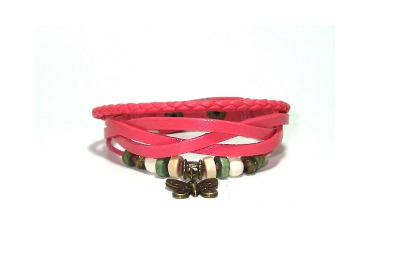 Pink Leather Beaded  Butterfly Charm  Bracelet