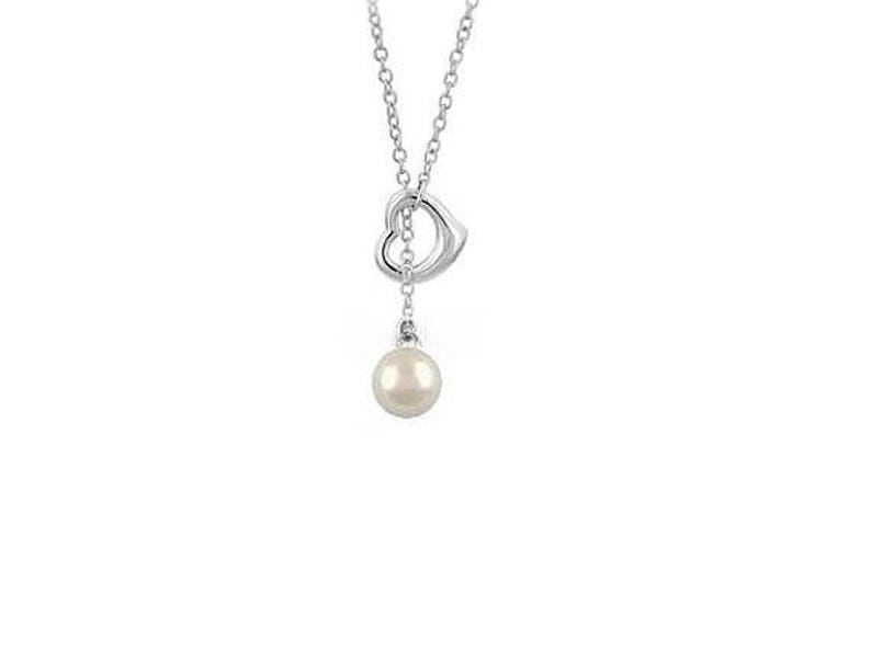 Sterling Silver Pearl  Lariat Heart Pendant Necklace