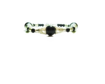 Black Onyx Bracelet , Black Onyx  And Silver  Beaded   Bracelet