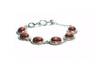 Jasper Bracelet ,  Oval Jasper Gemstones  , Vintage Jasper Bracelet