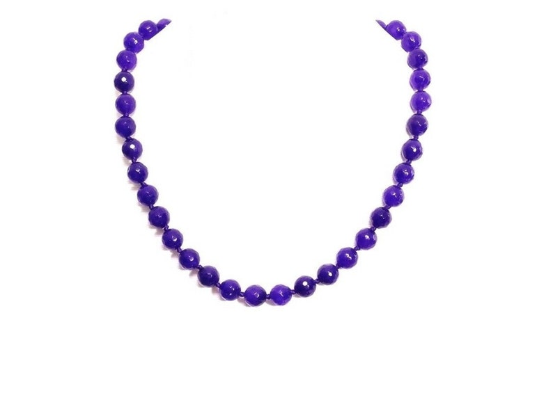 Hand Knotted Necklace Faceted Amethyst Beaded Necklace