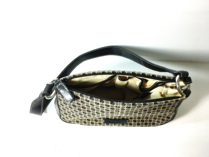 Black And Natural Shoulder Bag Handbag Canvas With Leather Trim  Purse Women/'s Nine /& Co