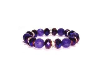 Amethyst Stretch Bracelet  ,  Genuine Amethyst   ,  Amethyst Crystals ,  Gemstone  Stretch  Bracelet