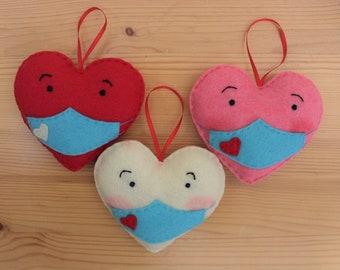 Handmade Blushing Masked Heart Covid OrnamentsDated