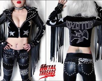 Metal Threads Led Zeppelin Moon & Stars jacket one of a kind Jimmy Page studded black velvet faux leather spandex fringe 70's rock