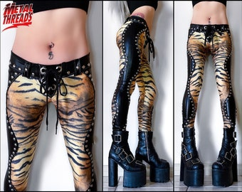 Metal Threads Inside the Electric Circus studded tiger print pants one a kind black lace up leather spandex animal leggings