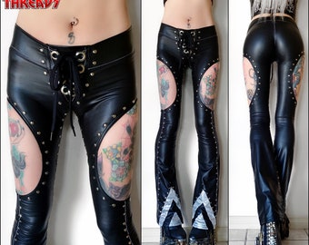 Metal Threads Nine Lives custom Peter Criss KISS pants black studded faux leather look spandex flares 70s rock