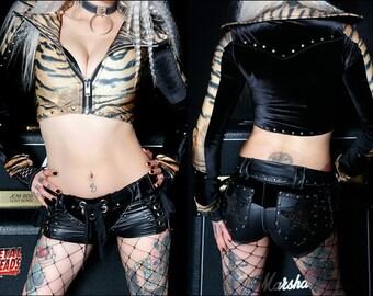 Metal Threads Rock N Roll Psycho one of a kind jacket tiger print black velvet studded spandex 80s rock biker moto glam punk