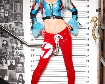 Metal Threads David Bowie Ziggy Stardust red glitter velvet pants one of a kind 70s glam rock leggings studded lightning bolt