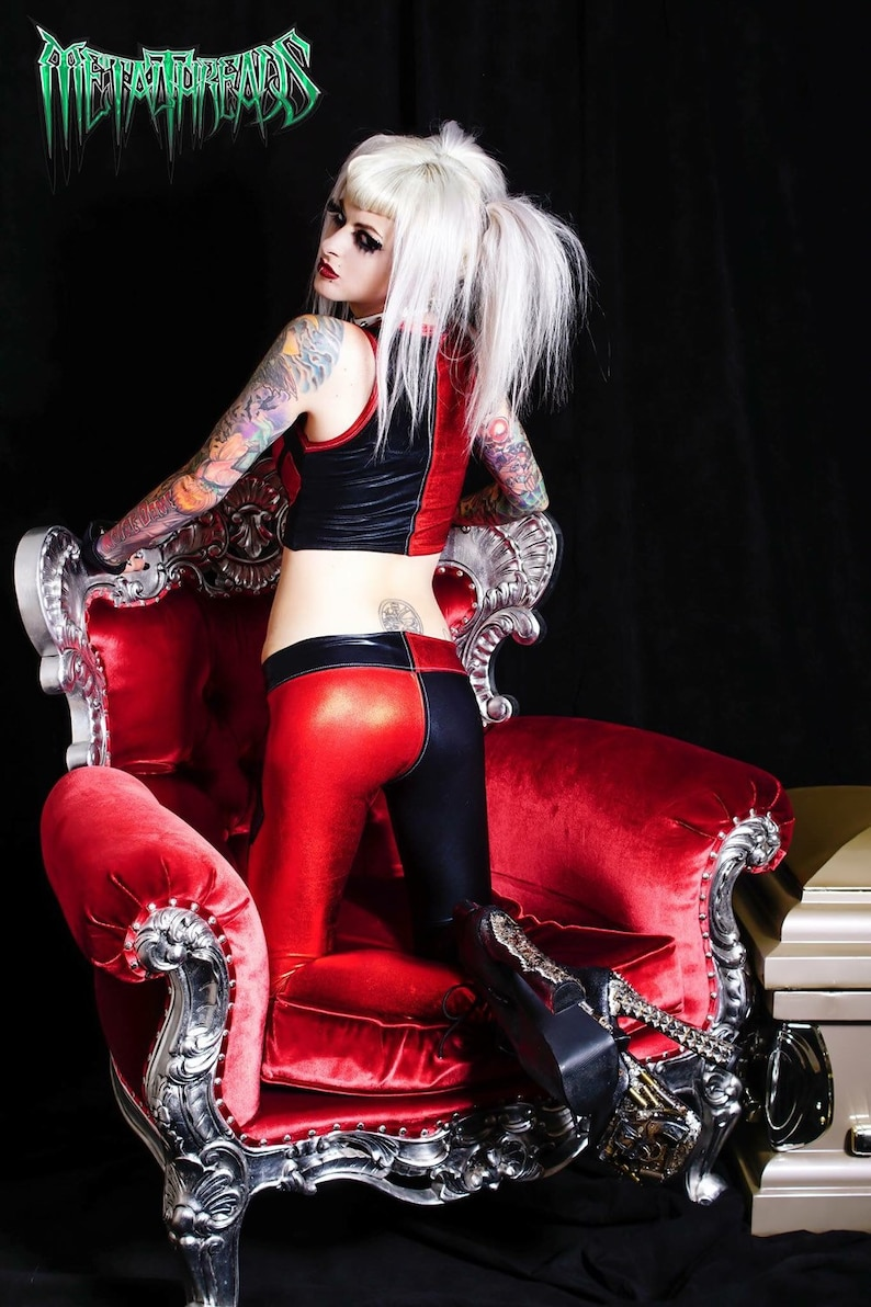 Metal Threads Harley Quinn custom vest *top only* made to order top black red spandex suicide squad gotham dc comics joker cosplay costume