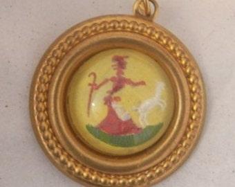 Little Bo Peep Charm Reverse Painted on Glass