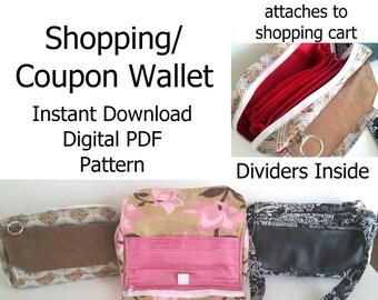 Shopping Wallet Pattern, Coupon Organizer Pattern, Wallet Digital PDF, Credit Card Wallet Purse Pattern, Zippered Divider Wallet Pattern