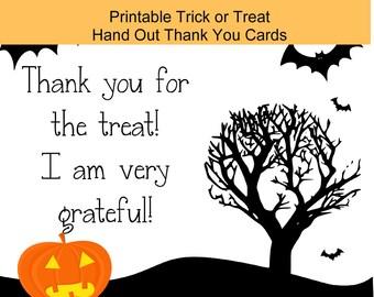 Halloween Digital Download Printable,  Trick or Treat Thank you Card, Printable Halloween Cards, Printable Kids Trick or Treat
