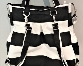 Black and White Stripe backpack bag, Diaper Bag backpack, convertible bag, large tote bag