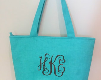 Monogrammed Turquoise Tote Bag, Beach Bag, Teacher Tote Bag, Mother's Day Gift, Gift for Mom