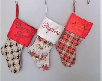 Personalized Christmas Stocking, Christmas Decor, Holiday Stocking, Plaid Christmas Stocking, Embroidered stocking