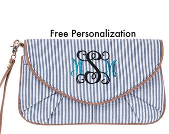 Personalized bridesmaid gift cross body purse or clutch for woman in navy blue seersucker